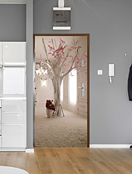 abordables -autocollants de porte arbre créatif décoratif imperméable porte autocollant décor - stickers muraux avion floral / botanique / aménagement paysager bureau / bureau / salle à manger / cuisine