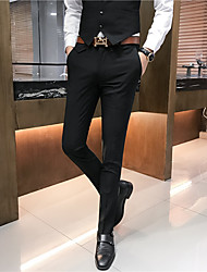 cheap -Men's Basic Dress Pants Pants Solid Colored Full Length Black Light Brown Khaki Gray
