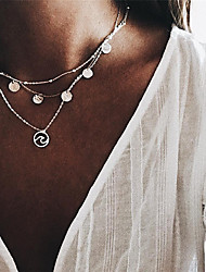 cheap -Women's Choker Necklace Layered Necklace Layered Wave Bohemian Fashion Boho Silver Plated Silver 48 cm Necklace Jewelry 1pc For Gift Daily Holiday Festival