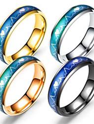 Недорогие -Для пары Кольца для пар Кольцо 1шт Черный Серебряный Розовое золото Нержавеющая сталь Титановая сталь Круглый Классический Мода Подарок Повседневные Бижутерия Сердце Cool Милый