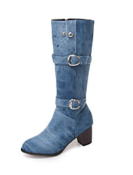 cheap -Women's Boots Knee High Boots Chunky Heel Round Toe Denim Knee High Boots Fall & Winter Black / Light Blue / Dark Blue / Party & Evening