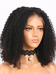 cheap -Remy Human Hair Full Lace Lace Front Wig Middle Part style Brazilian Hair Curly Black Wig 150% 180% Density Odor Free Fashionable Design Women Natural Comfortable Women's Short Human Hair Lace Wig