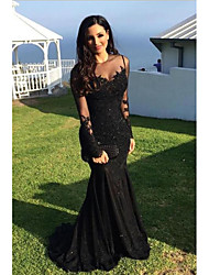 cheap -Mermaid / Trumpet Jewel Neck Sweep / Brush Train Lace Elegant Formal Evening Dress 2020 with Appliques / Lace Insert