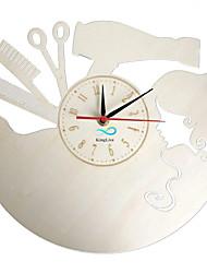 abordables -salon de coiffure cheveux salon de beauté salon de beauté horloge murale en bois décor à la maison mur art