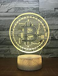 cheap -Bitcoin 3d Colorful Touch Sensitive Lamp Night Light 3d Acrylic Gift 7 Induction Headboard Headlights Kids Room