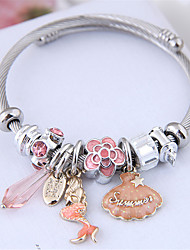 cheap -Women's Charm Bracelet Bracelet Bangles Bracelet Beads Flower Mermaid Shell European Sweet Fashion Elegant Steel Bracelet Jewelry Green / Pink For Wedding Party Gift Daily Prom / Imitation Diamond