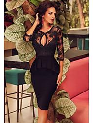 cheap -Women's Sheath Dress - Solid Colored V Neck Black S M L XL