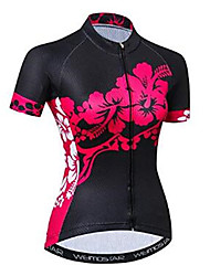 cheap -21Grams Floral Botanical Women's Short Sleeve Cycling Jersey - Black / Red Bike Jersey Top Breathable Moisture Wicking Quick Dry Sports Polyester Elastane Terylene Mountain Bike MTB Road Bike Cycling