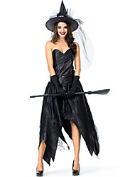 cheap -Witch Dress Cosplay Costume Masquerade Adults' Women's Cosplay Halloween Christmas Halloween Carnival Festival / Holiday Tulle Satin Black Women's Carnival Costumes Solid Color Holiday Halloween