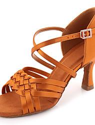 cheap -Women's Dance Shoes Satin Latin Shoes Heel Flared Heel Black / Dark Brown / Performance / Leather