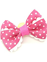cheap -Dogs Ornaments Hair Accessories For Dog / Cat Bowknot Decoration Polka Dot Metalic Polyester Rubber Pink