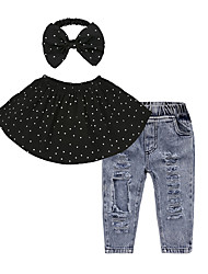 cheap -3pcs/Set Girl Cotton Off Shoulder Dot Tops + Long Fashion Jeans + Headwear Clothes Set