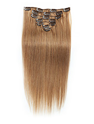 cheap -7 pcs set clip in hair extensions beige blonde 14inch 18inch 100 human hair for women