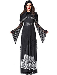 cheap -Witch Dress Cosplay Costume Masquerade Adults' Women's Cosplay Halloween Christmas Halloween Carnival Festival / Holiday Lace Plush Fabric Black Carnival Costumes Patchwork Holiday Halloween