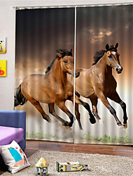 cheap -3D Horses Printed Privacy Two Panels Custom Polyester Curtain For Study Room / Office / Living Room Decorative Dust-proof Waterproof High-quality Curtains