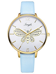 cheap -Women's Dress Watch Quartz Leather Sky Blue 30 m Water Resistant / Waterproof Casual Watch Analog Butterfly Fashion - White One Year Battery Life