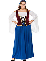 cheap -Oktoberfest Beer Outfits Dirndl Trachtenkleider Women's Vest Blouse Dress Bavarian Costume Blue / Headpiece / Headpiece