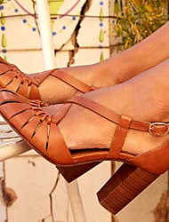 cheap -Women's Heels Chunky Heel PU Spring & Summer Brown / Blue / Daily