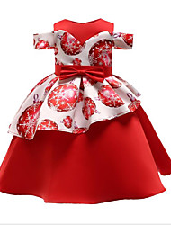 cheap -A-Line Knee Length Flower Girl Dress - Polyester / Polyester / Cotton Blend Short Sleeve Jewel Neck with Bow(s) / Pattern / Print