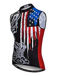 cheap -21Grams American / USA National Flag Men's Sleeveless Cycling Jersey - Black / Red Bike Jersey Top Breathable Moisture Wicking Quick Dry Sports Polyester Elastane Terylene Mountain Bike MTB Road Bike