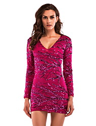 cheap -Diva Disco 1980s Dress Women's Sequins Costume Red Vintage Cosplay Prom Long Sleeve Above Knee Sheath / Column