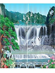 cheap -Advanced Customized 3D Printing High Definition Chinese Fengshan Waterfall Map Thickening Pure Polyester Curtain Multifunctional Bath Curtain/Curtain