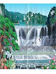 abordables -Avancée personnalisée 3d impression haute définition chinois fengshan cascade carte épaississement pur polyester rideau multifonctionnel bain rideau / rideau