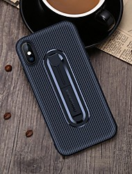 cheap -Case For Apple iPhone 6 / iPhone XS Max with Stand Back Cover Solid Colored Soft Carbon Fiber for iPhone 5 / iPhone SE / 5s / iPhone 6