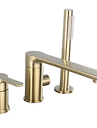 cheap -Shower Faucet / Bathtub Faucet - Contemporary Brushed Gold Widespread Ceramic Valve Bath Shower Mixer Taps / Single Handle Three Holes
