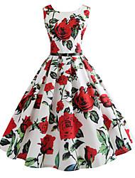cheap -Women's Vintage Tunic Dress - Geometric Print White L XL XXL