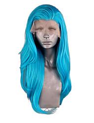 Недорогие -Синтетические кружевные передние парики Волнистый Боковая часть Лента спереди Парик Длинные Чистый синий Искусственные волосы 20-24 дюймовый Жен. Регулируется Жаропрочная Для вечеринок Синий