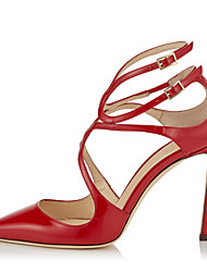 cheap -Women's Heels Stiletto Heel Pointed Toe Buckle Faux Leather Minimalism Spring & Summer / Fall & Winter Red / White / Gold / Party & Evening