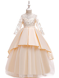 cheap -Princess Floor Length Wedding / Party / Pageant Flower Girl Dresses - Cotton / Lace / Satin Long Sleeve Jewel Neck with Lace / Belt / Crystals