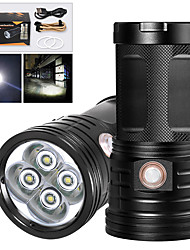 cheap -XM4 LED Flashlights / Torch Waterproof 3200 lm LED LED 4 Emitters Manual 3 Mode with USB Cable Waterproof Professional Anti-Shock Easy Carrying Durable Camping / Hiking / Caving Police / Military