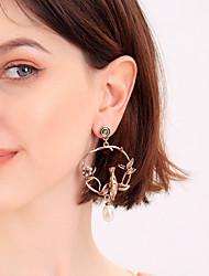 cheap -Women's Green Red Cubic Zirconia Drop Earrings Earrings Vintage Style Floral Theme Bird Flower Statement Dangling Vintage Trendy Fashion Imitation Pearl Imitation Diamond Earrings Jewelry Bronze For