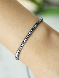 cheap -Women's Handmade Link Bracelet Braided Happy Asian Bohemian Acrylic Bracelet Jewelry Black For Gift Daily