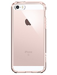 cheap -Case For Apple iPhone SE / 5s / iPhone 5 Shockproof Back Cover Solid Colored / Transparent Soft Stainless Steel / Plastic