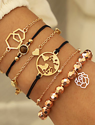 cheap -5pcs Women's Bead Bracelet Earrings / Bracelet Loom Bracelet Layered Maps Heart Flower Shape Simple Classic Vintage Ethnic Fashion Alloy Bracelet Jewelry Gold For Daily School Street Holiday Festival