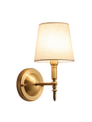 cheap -Nordic Fabric Wall Lamp Round Shade White Bedroom Corridor Night Light Wall Mount Brass Lampbody Living Room TV-Wall Decor Light Wall Mount Gooseneck