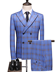 cheap -Sky Blue Checkered Standard Fit Polyester Suit - Peak Double Breasted Four-buttons