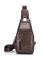 cheap -Men's Buttons / Embossed Cowhide Sling Shoulder Bag Solid Color Brown / dark brown