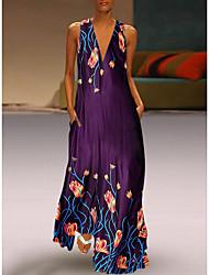 Недорогие -Жен. Старинный С летящей юбкой Платье - Цветочный принт, Рисунок Глубокий V-образный вырез Макси / Свободный силуэт