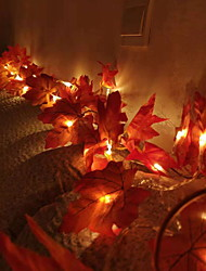 cheap -2m Red Maple Leaves String Lights 20 LEDs Warm White Thanksgiving Party Home Decorative 3V 1set