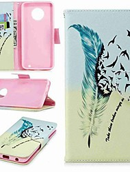 cheap -Case For Motorola MOTO G6 / Moto G6 Plus / Moto G5s Plus Wallet / Card Holder / with Stand Full Body Cases Feathers Hard PU Leather / Moto G5 Plus / Moto G4 Plus