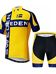 cheap -21Grams Sweden National Flag Men's Short Sleeve Cycling Jersey with Shorts - Black / Yellow Bike Clothing Suit Breathable Quick Dry Sports Elastane Terylene Mountain Bike MTB Road Bike Cycling