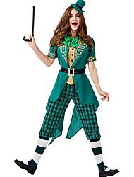 cheap -Leprechaun Costume Women's Fairytale Theme Halloween Performance Cosplay Costumes Theme Party Costumes Women's Dance Costumes Polyester Sashes / Ribbons