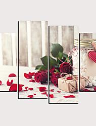 cheap -Print Rolled Canvas Prints - Hearts Floral / Botanical Classic Modern Four Panels Art Prints