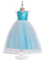cheap -Kids Toddler Girls' Active Sweet Patchwork Sequins Short Sleeve Asymmetrical Dress Blue