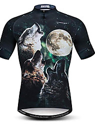 cheap -21Grams 3D Animal Wolf Men's Short Sleeve Cycling Jersey - Black / White Bike Jersey Top Breathable Moisture Wicking Quick Dry Sports Polyester Elastane Mountain Bike MTB Road Bike Cycling Clothing