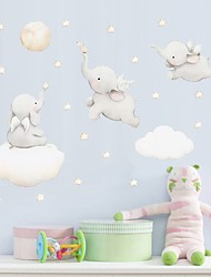cheap -Watercolor Elephant Star Nebula Wall Adhesion Children'S Room Bedroom Self-Adhesive Paper Wallpaper Decorative Wall Stickers - Animal Wall Stickers / Plane Wall Stickers Still Life / Animals Kids Room